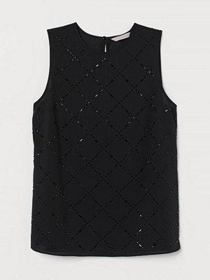 H&M Ärmlös topp med strass svart