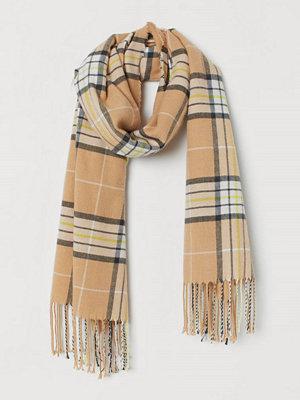 H&M Rutig halsduk beige