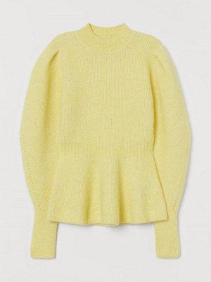H&M Peplumtröja i ullmix gul