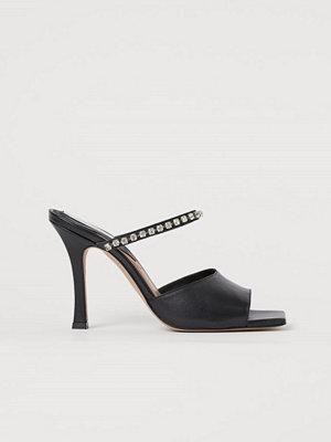 Pumps & klackskor - H&M Lädersandaletter med strass svart