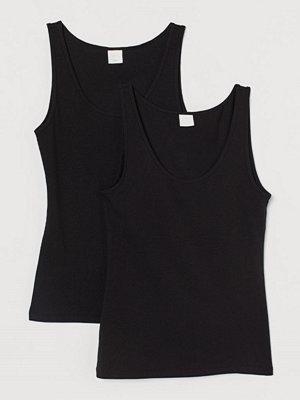 H&M 2-pack ribbat linne svart