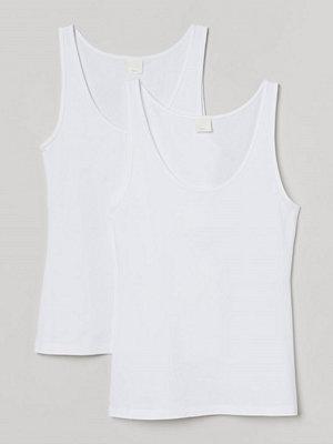 H&M 2-pack ribbat linne vit