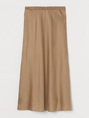 H&M Vadlång sidenkjol beige