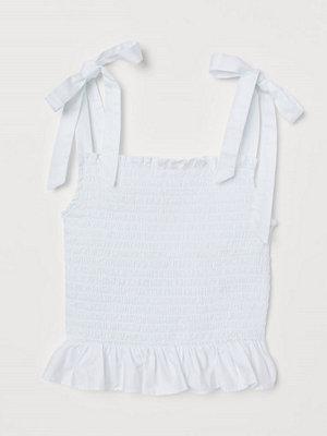 H&M Smockat linne i bomull vit