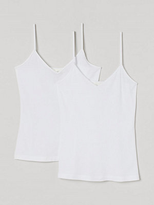 H&M 2-pack v-ringat linne vit