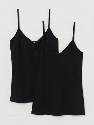 H&M 2-pack v-ringat linne svart