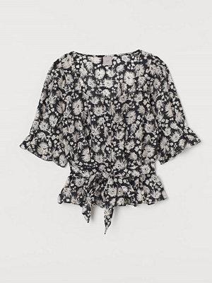 H&M Blus med lyster svart
