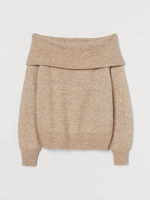 H&M Off shoulder-tröja beige