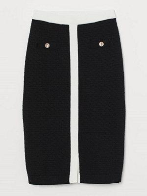 H&M Strukturstickad pennkjol svart
