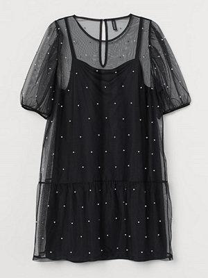 H&M H & M+ Kort meshklänning svart
