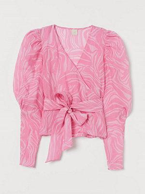 H&M Omlottblus med puffärm rosa