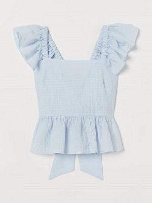 H&M Volangtopp med knytband blå