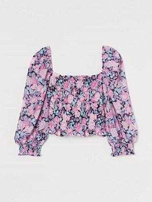 H&M Kort blus med smock rosa