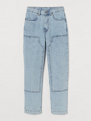 H&M Straight Patched High Jeans blå