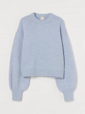 H&M Finstickad tröja i ullmix blå