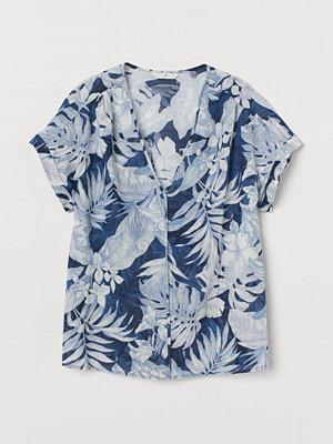 H&M V-ringad bomullsblus blå
