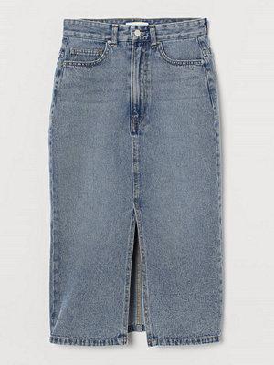 H&M Jeanskjol med slits blå