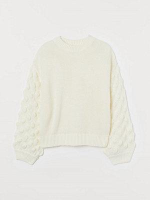 H&M Stickad tröja med ballongärm vit