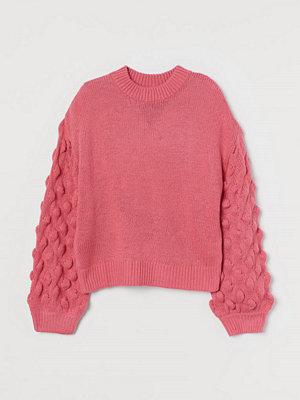 H&M Stickad tröja med ballongärm rosa