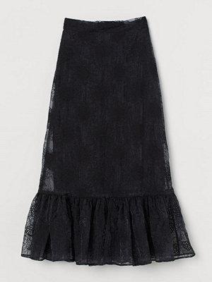 H&M Broderad kjol i organza svart
