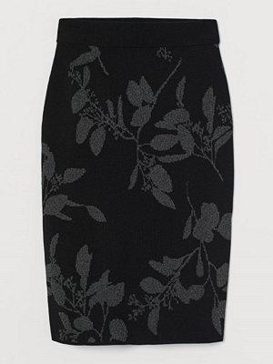 H&M Jacquardstickad kjol svart