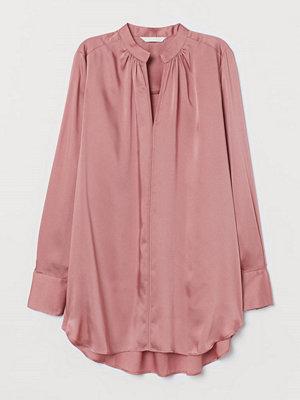 H&M Lång satinblus rosa
