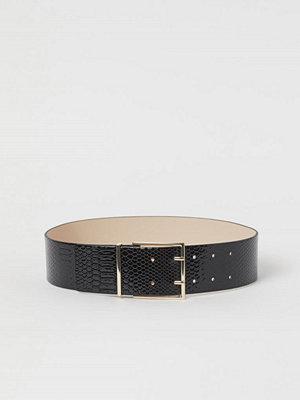 H&M Ormskinnsmönstrat midjeskärp svart