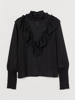 H&M Blus med smock svart