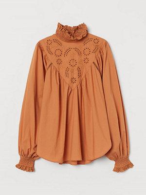 H&M Blus med brodyr orange