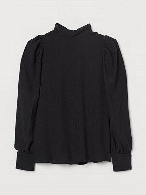 H&M Våfflad blus svart
