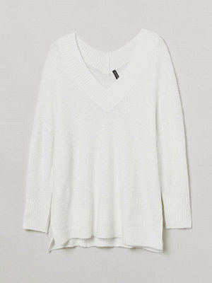 H&M H & M+ V-ringad tröja i ullmix vit