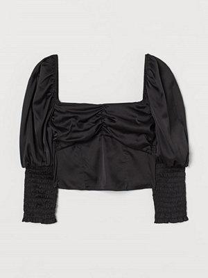 H&M Blus med puffärm svart