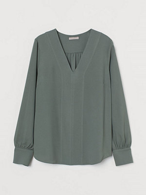 H&M V-ringad blus grön