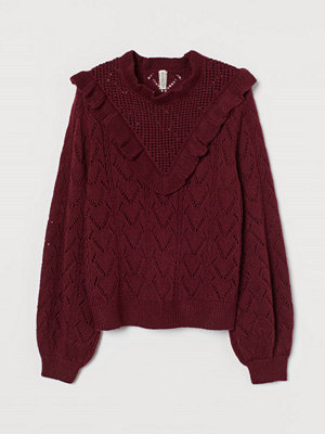 H&M Stickad tröja med volang röd
