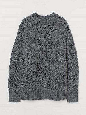 H&M Kabelstickad tröja grå