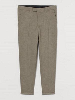 H&M Dressad byxa Slim Fit brun