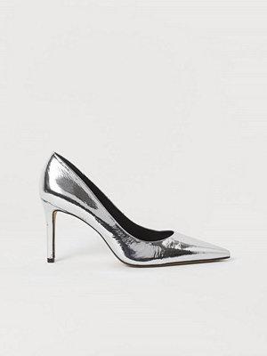 H&M Metallicskimrande pumps silver