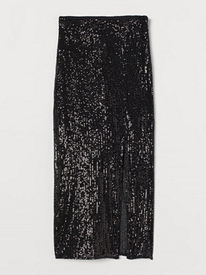 H&M Paljettkjol med slits svart