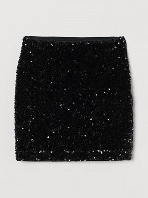 H&M Paljettkjol svart