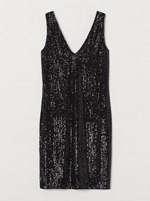 H&M V-ringad paljettklänning svart