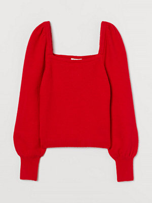 H&M Tröja med puffärm röd