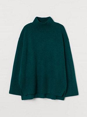 H&M Stickad polotröja grön