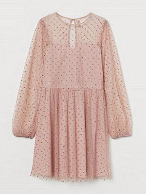 H&M Meshklänning med glitter rosa