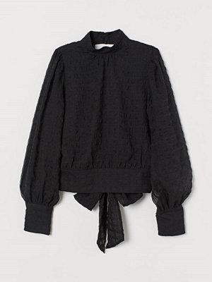 H&M Blus med knytband svart