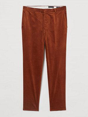 H&M Kostymbyxa i sammet Skinny Fit beige