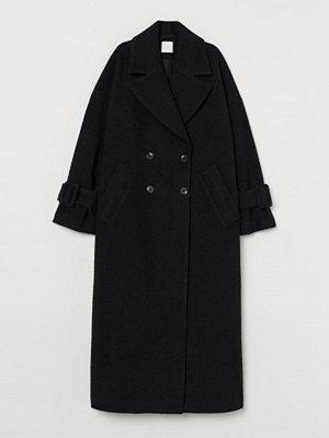 H&M Lång kappa i ullmix svart