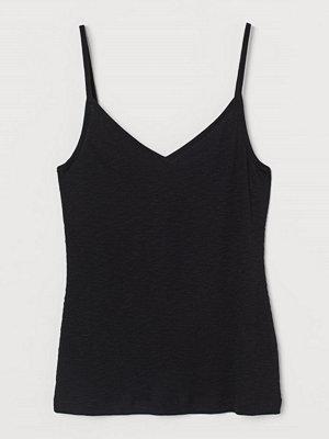 H&M Ribbat linne i modalmix svart