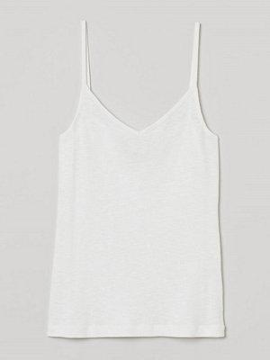 H&M Ribbat linne i modalmix vit