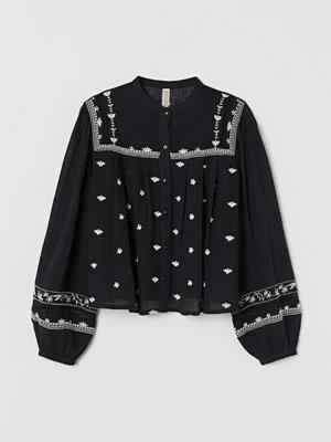 H&M Broderad bomullsblus svart