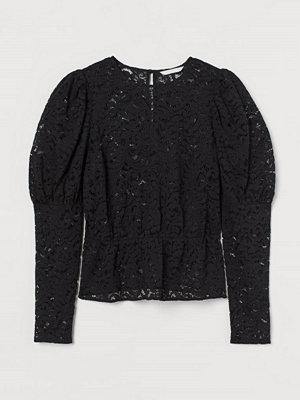 H&M Blus i spets svart